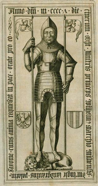 Abbildung verschollene Grabplatte Wilhelm I.