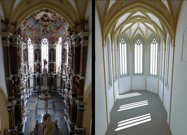 Blick von heutiger Empore und Rekonstruktion